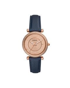 Reloj Fossil Correa Piel Azul Caratula Oro Rosado Analogo para Dama
