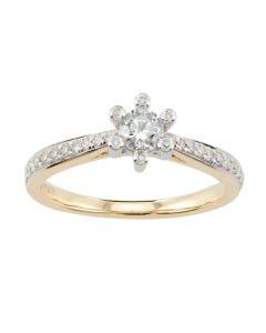 Anillo de Compromiso de Oro Amarillo y Blanco con 50 Puntos de Diamante