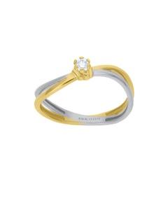 Anillo de Compromiso Solitario de Oro Blanco y Amarillo con Un Diamante de 9 Puntos
