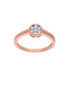 Anillo de Compromiso de Oro Rosa 14K con 25 Puntos de Diamante (G-H) (Vs1-Vs2)