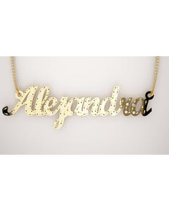 Gargantilla De Nombre En Oro Amarillo Con Cadena De 14K Con Zirconias (3 A 9 Letras)
