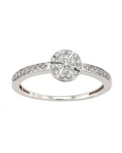 Anillo de Oro Blanco con 20 Puntos de Diamante