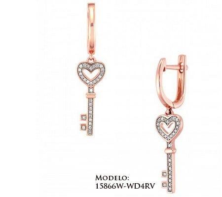 Aretes de oro rosa en forma de llave