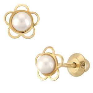 Broqueles de oro con perlas