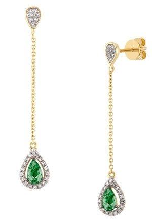 Aretes de oro amarillo con esmeraldas