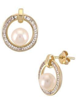 Aretes de oro amarillo con perlas
