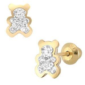 Aretes de oro amarillo en forma de oso