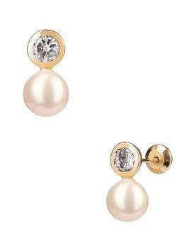 Aretes de perla oro amarillo