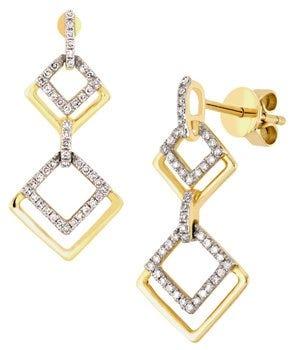 Aretes de oro en forma de rombos