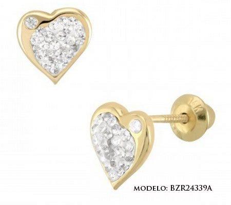 Broqueles corazón con zirconias