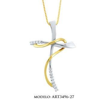 Cricifijo de oro blanco con amarillo y zirconias