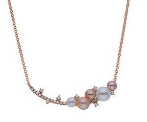 Gargantilla de oro rosa con perlas