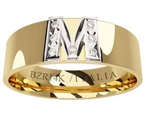 Argolla oro amarillo con inicial M