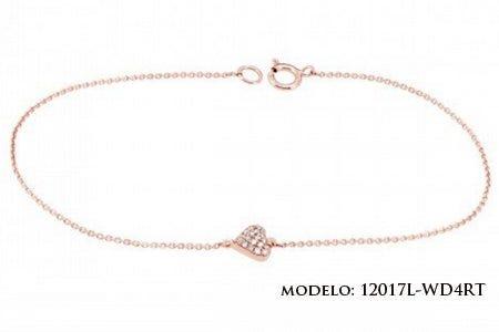 Pulsera de oro rosa con diamantes