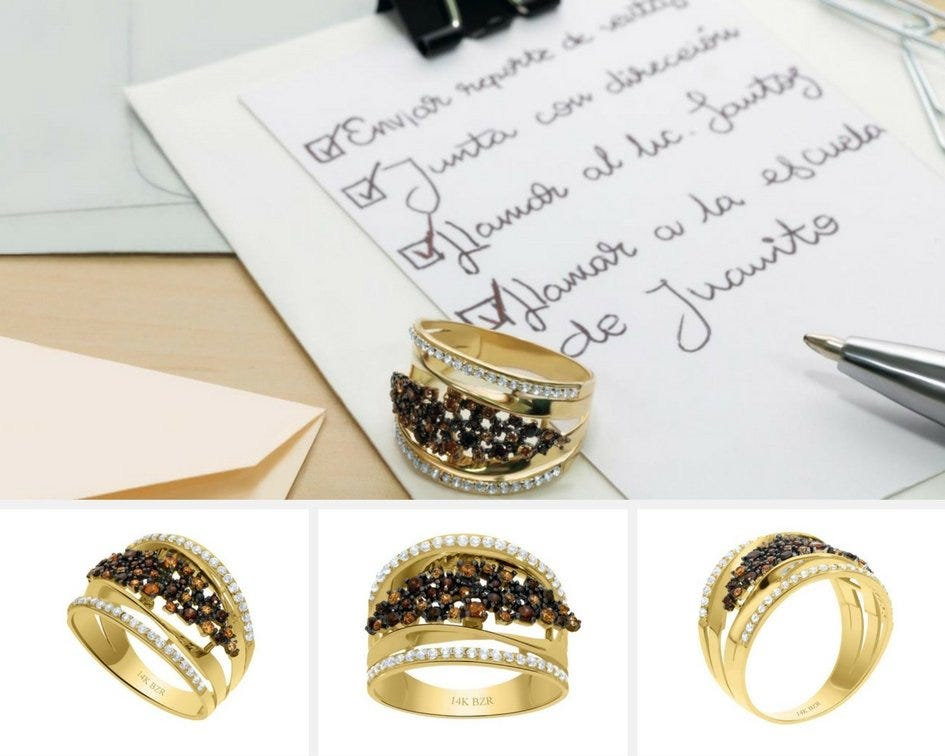 Anillo de oro con piedras preciosas