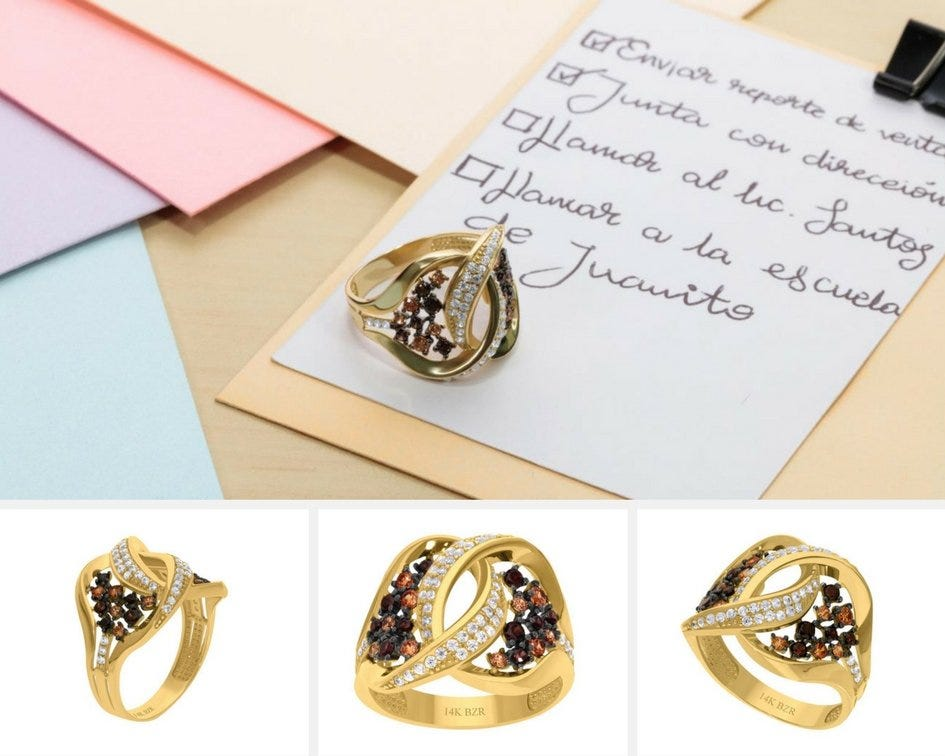 Anillo de oro amarillo con piedras preciosas