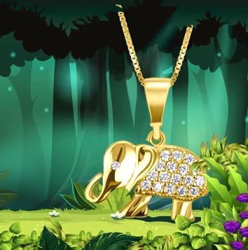 Dije elefante de oro amarillo