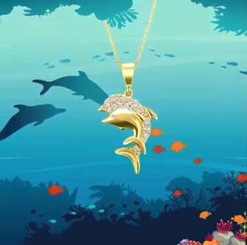 Dije de oro amarillo de delfines