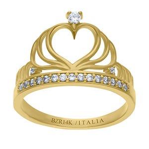 Anillo de oro amarillo en forma de corona