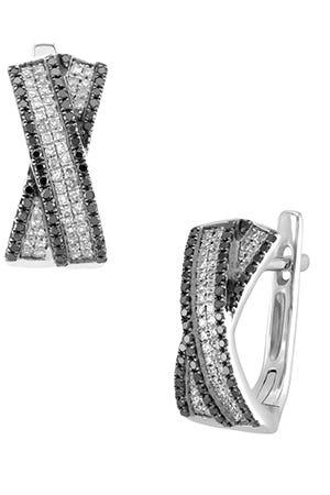 Aretes de oro blanco con diamantes negros