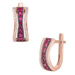 Aretes de oro rosa con diamantes
