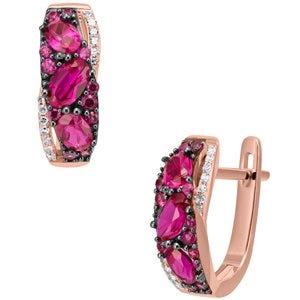 Aretes de oro rosa y diamantes