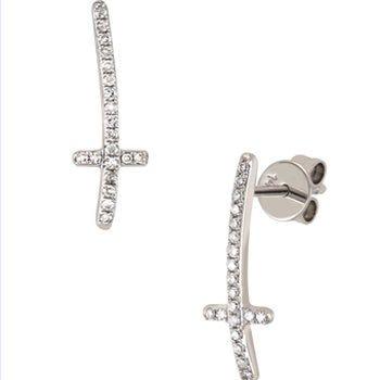 Aretes de oro blanco con diamantes