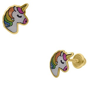 Aretes de oro de unicornio