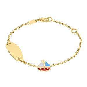 Pulsera de oro amarillo con barco