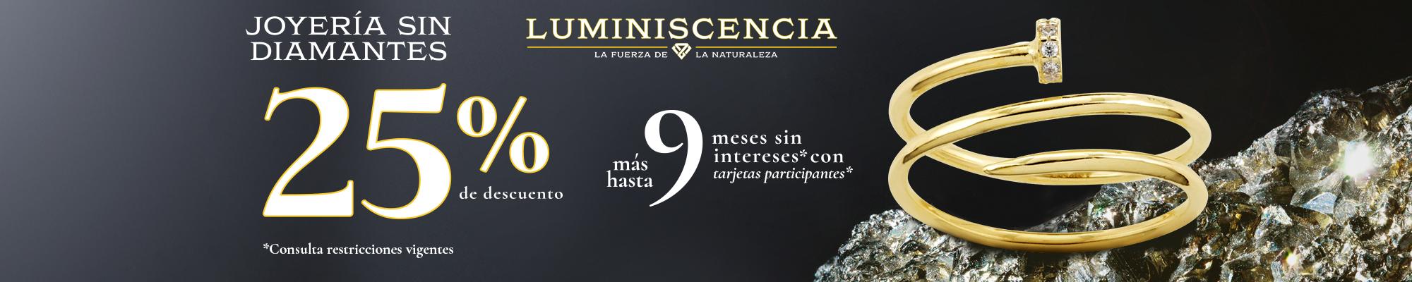JOYERÍA SIN DIAMANTES: 25% DE DESCUENTO + HASTA 9 MESES SIN INTERESES