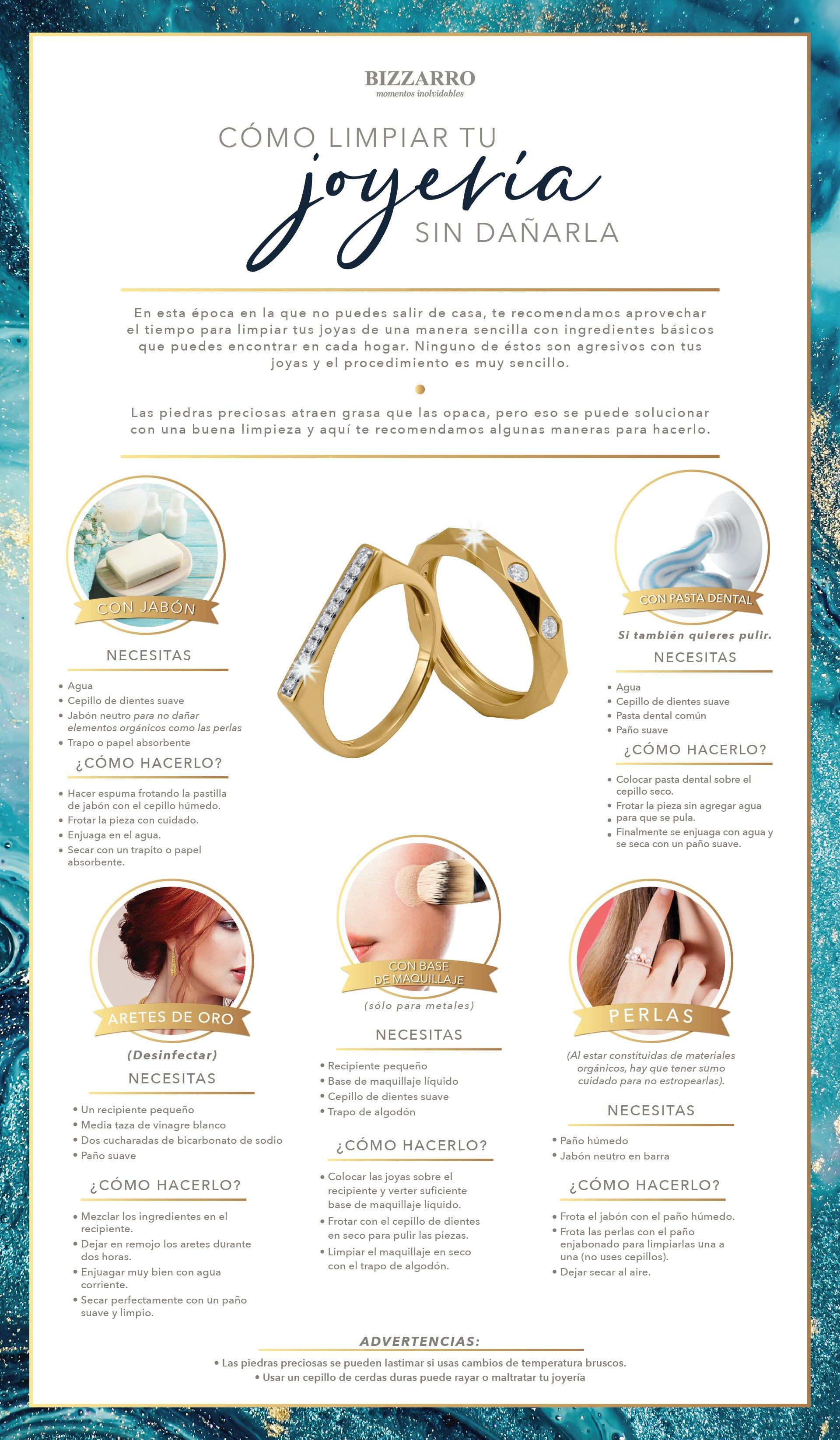 Las joyería puede limpiarse con productos caseros que no las dañan, como el jabón neutro, la pasta dental o el maquillaje.