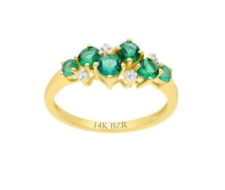 Anillo de Oro Amarillo 14K de Diamante y Esmeralda