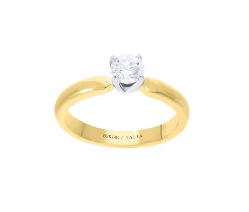anillo oro amarillo 14K Montadura Platinada con Un Diamante de 50 Puntos